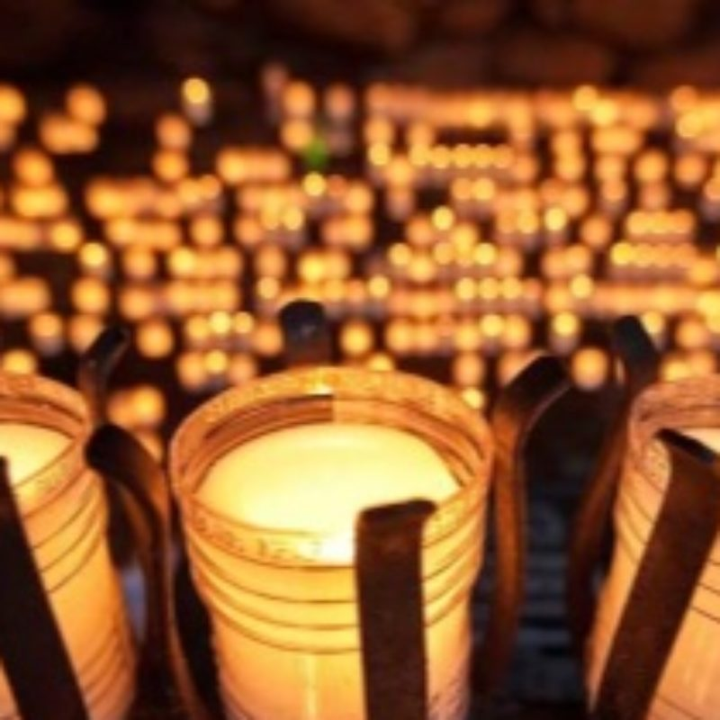 Candles in the Grotto at the University of Notre Dame