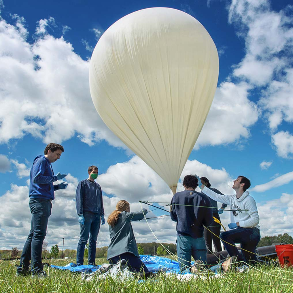 IrishSat students prepping the high-altitude balloon for launch.